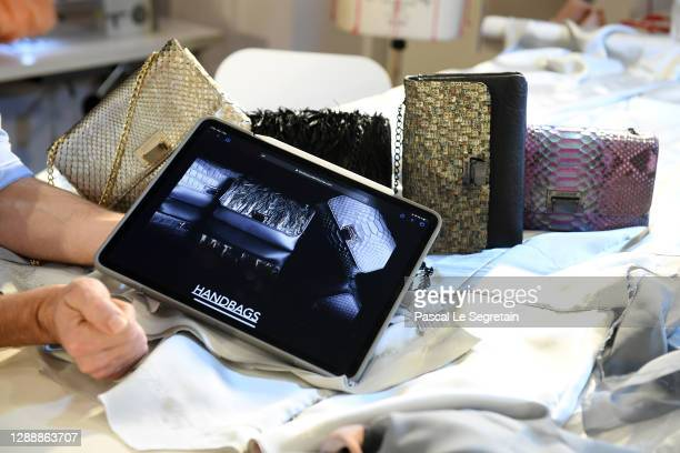 Tablet displays the website at the atelier during Julien Fournié's Haute Couture website launch on December 01, 2020 in Paris, France.