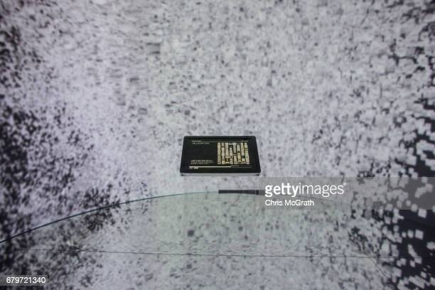 A tablet is seen in the center of a high tech art installation at Salt Galata on May 6 2017 in Istanbul Turkey The Archive Dreaming installation by...