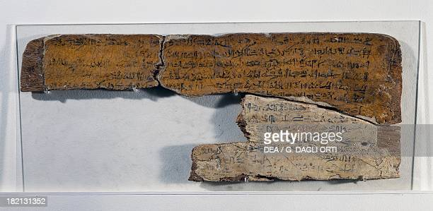 Tablet of an apprentice scribe bearing a text from The satire of the crafts wood 52x205x1 cm Egyptian civilisation New Kingdom Dynasty XVIII Paris...