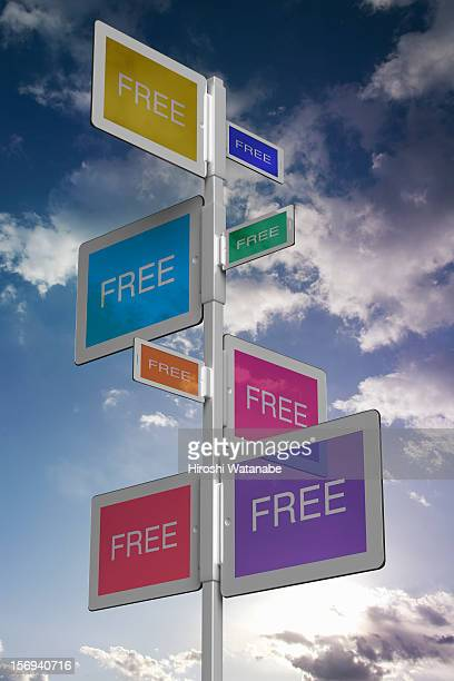Tablet PC sign boards displays 'FREE'