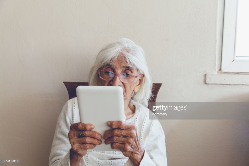 Tablet Technology Use Senior Women : Stock Photo