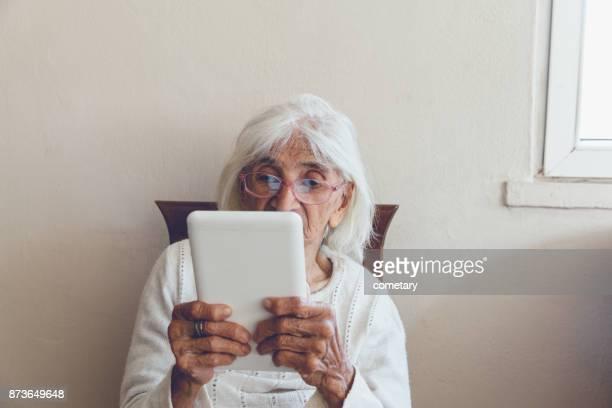 Tablet Technology Use Senior Women