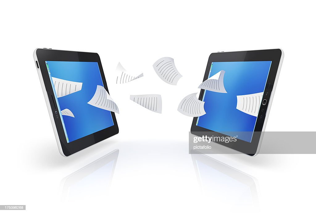 tablet transfer files and sharing : Stock Photo