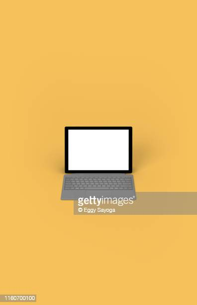 tablet with keyboard cover on yellow background 2 - 机 イラスト ストックフォトと画像