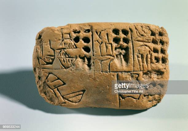 Tablet with pictographic inscription raw earth southern mesopotamia sumer Oriental Art Louvre Museum East Mesopotamia Sumeria