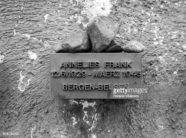 A tablet with the name of Annelies Marie Frank known to the world as Anne Frank is at the Holocaust Memorial in Frankfurt Germany 18 April 2013 Anne...
