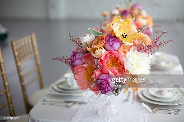 Tabletop with floral centerpieces