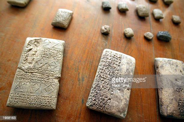Tablets and other stolen antiquities that were returned in recent days to the Iraqi National Museum are displayed at the museum April 29 2003 in...