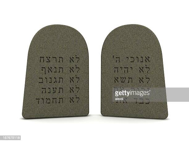 tablets of stone - ten commandments stock photos and pictures