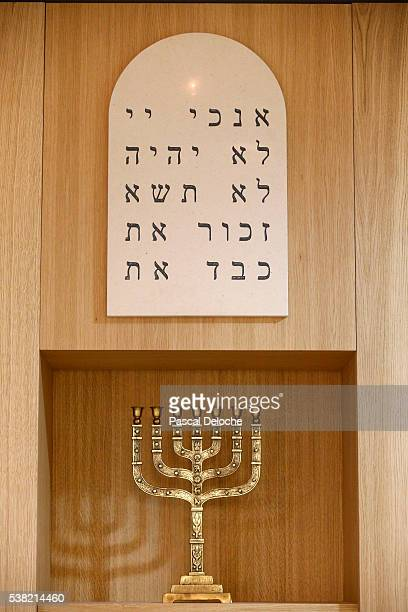 tablets of testimony and menorah. - menorah stock pictures, royalty-free photos & images