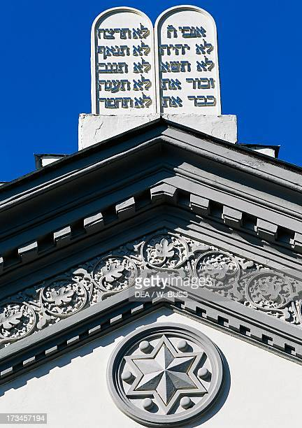 Tablets of the Law and the star of David Choral Synagogue in Vilnius Lithuania