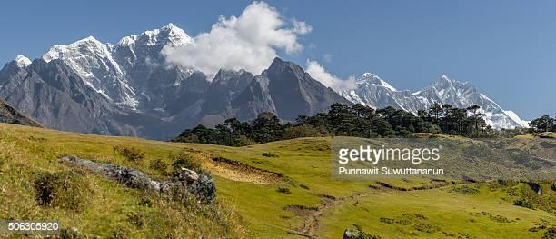 Taboche, Everest, and Lhotse mountain peak