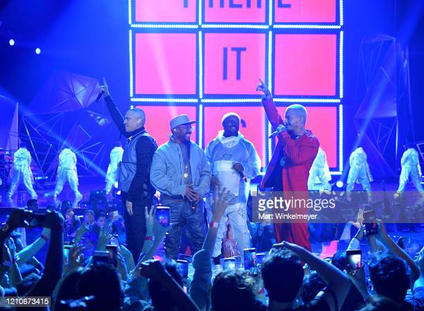 Taboo Apldeap and william of The Black Eyed Peas and J Balvin perform onstage during the 2020 Spotify Awards at the Auditorio Nacional on March 05...