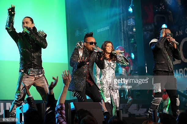 Taboo ApldeAp Fergie and William perform at the Samsung Times Square Concert with THE BLACK EYED PEAS at Times Square on March 10 2010 in New York...