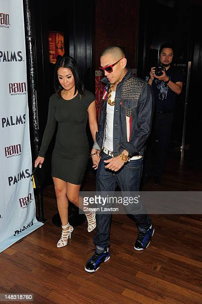 Taboo of the Black Eyes Peas and wife Jaymie Dizon arrive to celebrate Taboo's birthday at the Rain Nightclub at The Palms Las Vegas on July 13 2012...