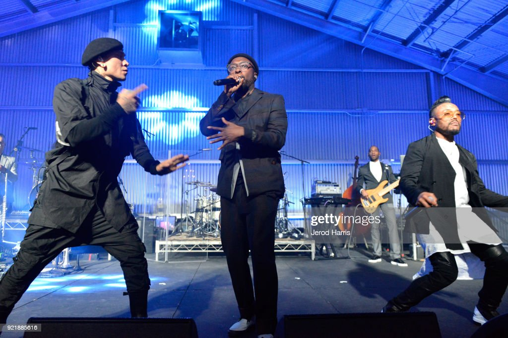 Taboo, will.i.am, and apl.de.ap of Black Eyed Peas perform onstage at will.i.am's i.am.angel Foundation TRANS4M 2018 Gala, Honoring Sean Parker, Chairman, Parker Institute for Cancer Immunotherapy at Milk Studios on February 20, 2018 in Hollywood, California.