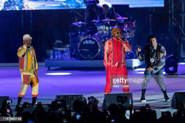 Taboo William and apldeap of the Black Eyed Peas perform at the Closing Ceremony of the Southeast Asian Games on December 11 2019 at New Clark City...