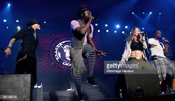 Taboo William Fergie and Apldeap of the Black Eyed Peas performs on stage in concert at Olympic Park on August 16 2007 in Seoul South Korea