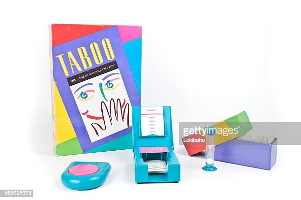 taboo word game with equipment displayed - forbidden stock pictures, royalty-free photos & images
