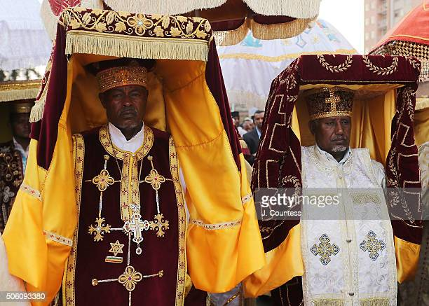 Tabots during the processional march to Janmeda on the first day of the three day Epiphany celebrations in the Janmeda section of Addis Ababa on...