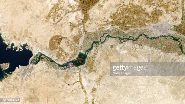 Tabqa town in the west with neighbouring Dam that flows into the Euphrates River towards Raqqa City to the East River on February 07 2017