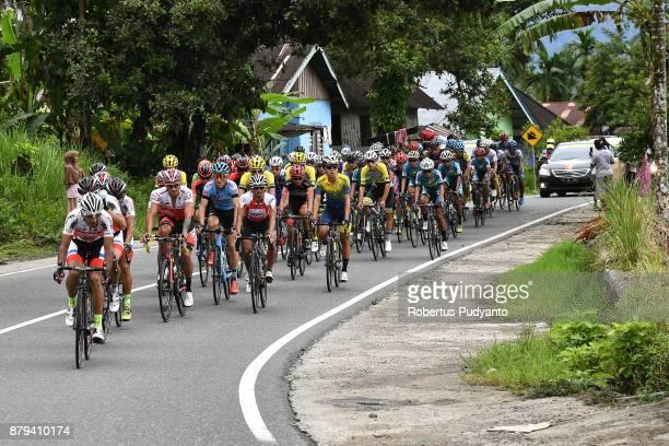 Tabriz Shahrdary Team Iran lead the peloton during stage 9 of the Tour de Singkarak 2017 PasamanBukittinggi 1172 km on November 26 2017 in...