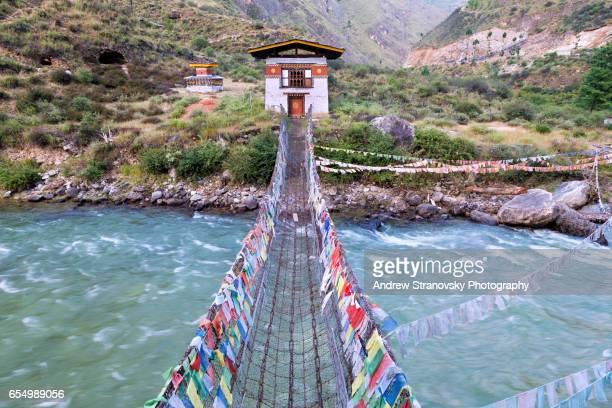tachog bridge - thimphu stock pictures, royalty-free photos & images