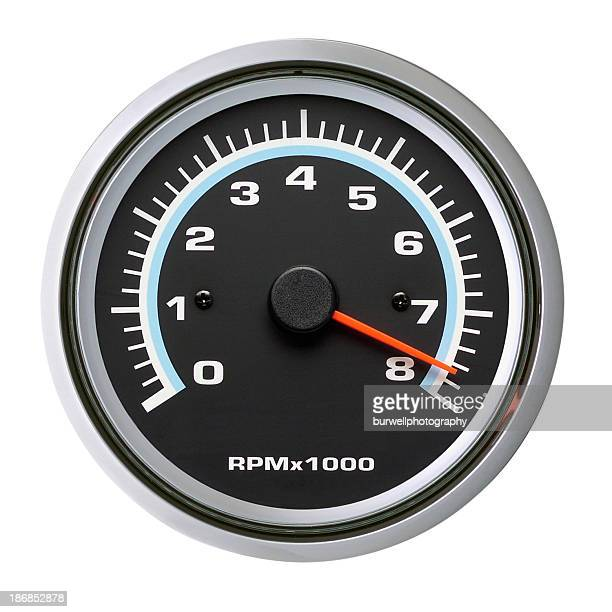 Tachometer, Speedometer, Isolated on white