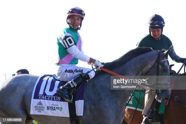 Tacitus with Jose L Ortiz aboard enters the track prior to the 151th running of the Belmont Stakes at Belmont Park on June 08 2019 in Elmont New York