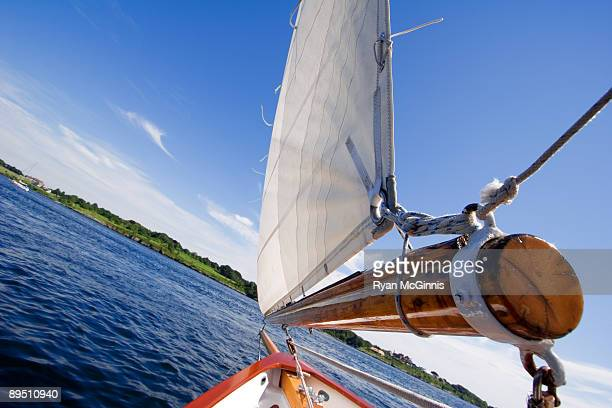 tacking sailboat - newport rhode island stock photos and pictures
