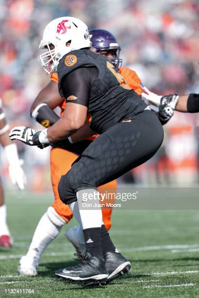 Tackle Andre Dillard of Washington State of the South Team during the 2019 Resse's Senior Bowl at LaddPeebles Stadium on January 26 2019 in Mobile...