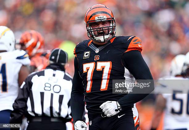 Tackle Andrew Whitworth of the Cincinnati Bengals reacts against the San Diego Chargers during a Wild Card Playoff game at Paul Brown Stadium on...