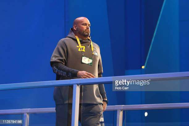 Tackle Andrew Whitworth of the Los Angeles Rams talks to the media during Super Bowl LIII Opening Night at State Farm Arena on January 28, 2019 in...