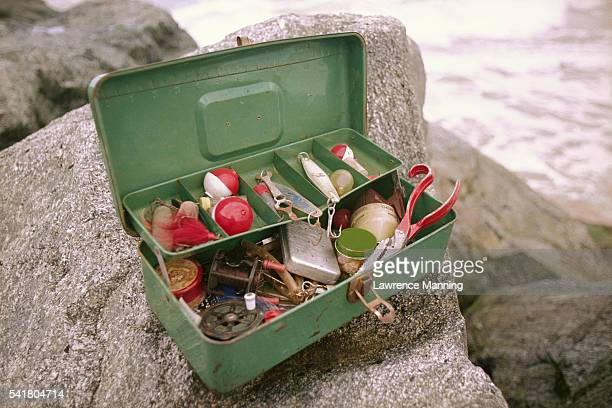 tackle box with fishing equipment - fishing tackle stock pictures, royalty-free photos & images