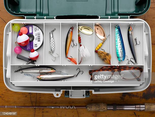 tackle box with lures - fishing tackle stock pictures, royalty-free photos & images