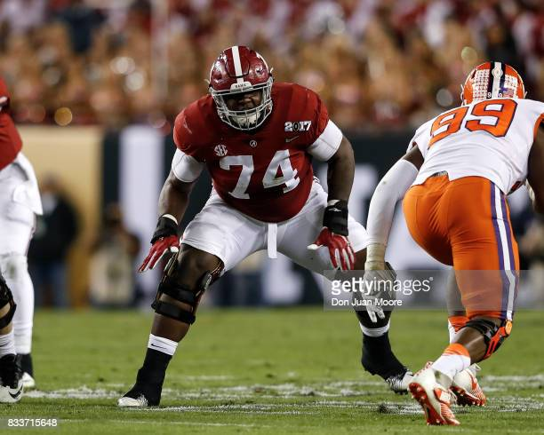 Tackle Cam Robinson of the Alabama Crimson Tide during the 2017 College Football Playoff National Championship Game against the Clemson Tigers at...