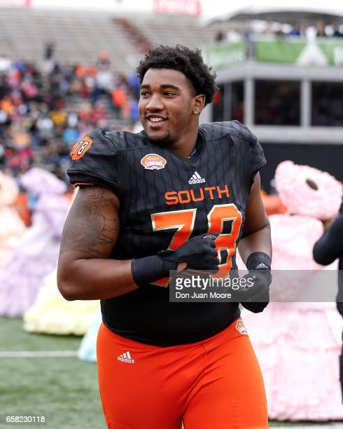 Tackle Eric Smith from Virginia of the South Team during the 2017 Resse's Senior Bowl at LaddPeebles Stadium on January 28 2017 in Mobile Alabama The...