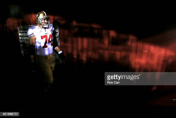 Tackle Joe Staley of the San Francisco 49ers walks through the tunnel before taking on the Washington Redskins at FedExField on November 25 2013 in...