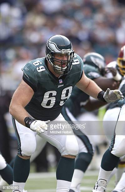 Tackle Jon Runyan of the Philadelphia Eagles in game action against the Wshington Redskins The Washington Redskins went on to defeat the Philadelphia...