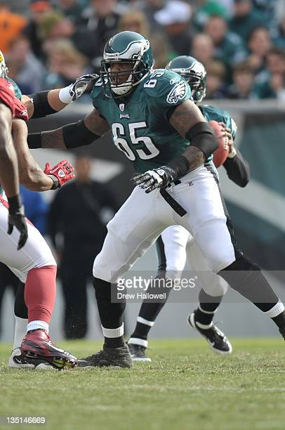 Tackle King Dunlap of the Philadelphia Eagles blocks during the game against the Arizona Cardinals at Lincoln Financial Field on November 13, 2011 in...