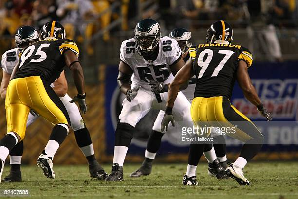 Tackle King Dunlap of the Philadelphia Eagles blocksduring the game against the Pittsburgh Steelers on August 8, 2008 at Heinz Field in Pittsburgh,...