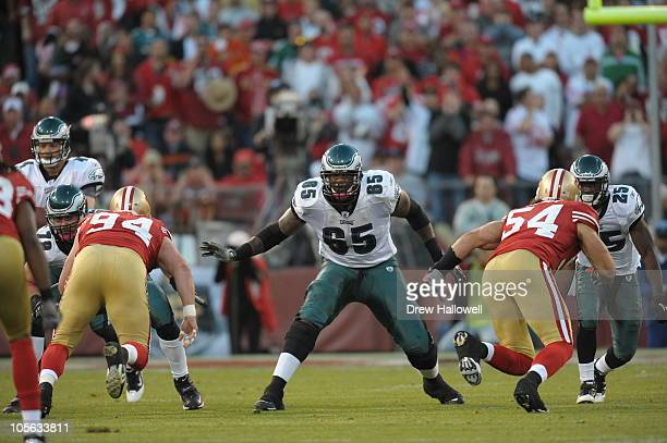 Tackle King Dunlap of the Philadelphia Eagles in action during the game against the San Francisco 49ers at Candlestick Park on October 10, 2010 in...
