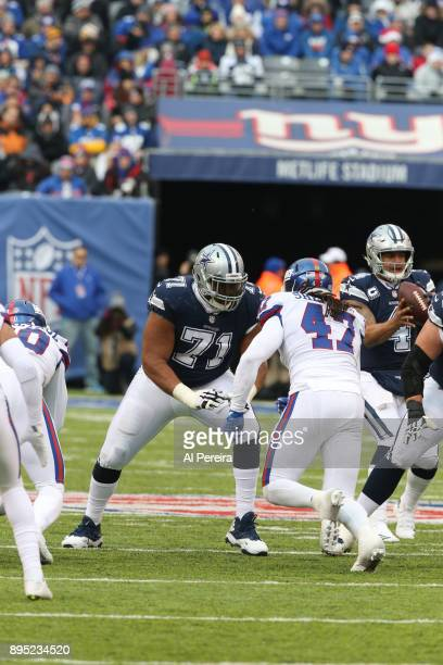 Tackle La'el Collins of the Dallas Cowboys in action against the New York Giants on December 10 2017 at MetLife Stadium in East Rutherford New Jersey...