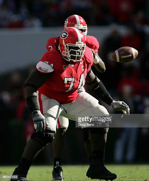 Tackle Max JeanGilles of the Georgia Bulldogs drops back to block for quarterback DJ Shockley against the Kentucky Wildcats at Sanford Stadium on...