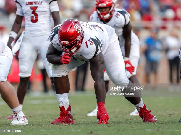 Tackle Mekhi Becton of the Louisville Cardinals during the game against the Florida State Seminoles at Doak Campbell Stadium on Bobby Bowden Field on...