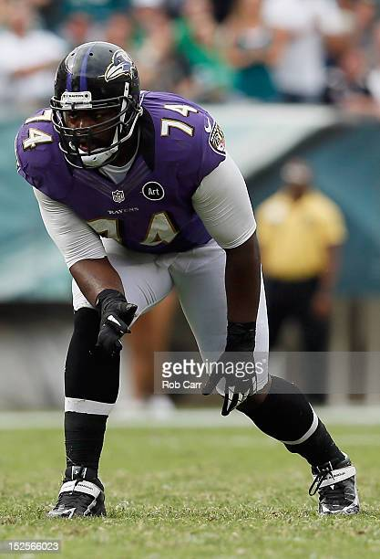 Tackle Michael Oher of the Baltimore Ravens lines up against the Philadelphia Eagles at Lincoln Financial Field on September 16 2012 in Philadelphia...