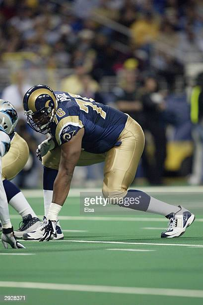 Tackle Orlando Pace of the St. Louis Rams sets up on the offensive line during the NFC Divisional Playoff game against the Carolina Panthers on...