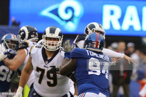 Tackle Rob Havenstein of the Los Angeles Rams in action against the New York Giants at MetLife Stadium on November 5, 2017 in East Rutherford, New...
