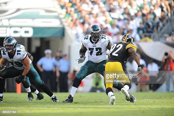 Tackle Tra Thomas of the Philadelphia Eagles blocks during the game against the Pittsburgh Steelers on September 21, 2008 at Lincoln Financial Field...