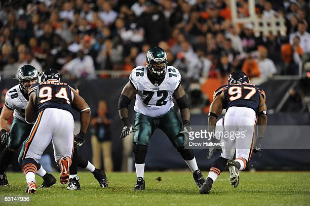 Tackle William Thomas of the Philadelphia Eagles blocks during the game against the Chicago Bears on September 28 2008 at Soldier Field Field in...
